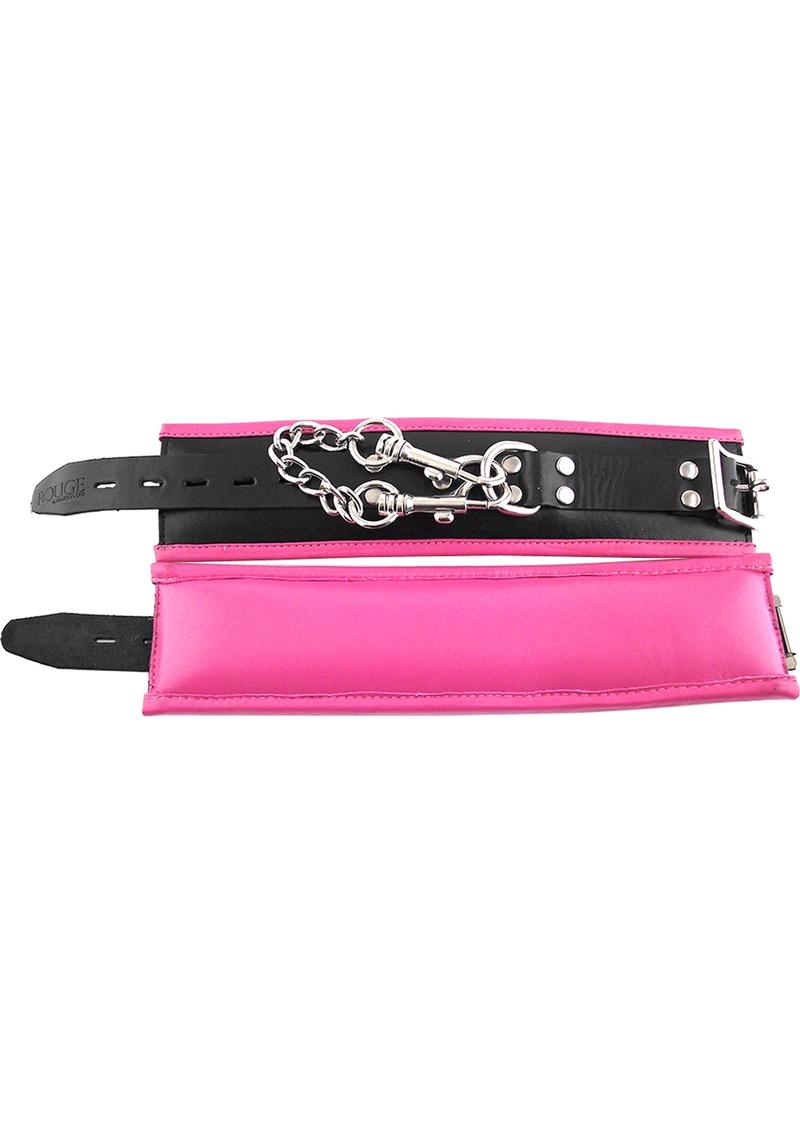 Rouge Padded Leather Wrist Cuffs Black And Pink