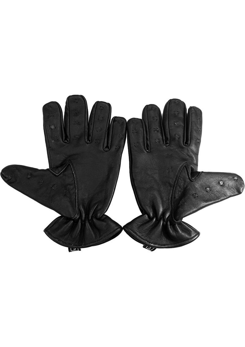 Rouge Leather Vampire Gloves Black Extra Large