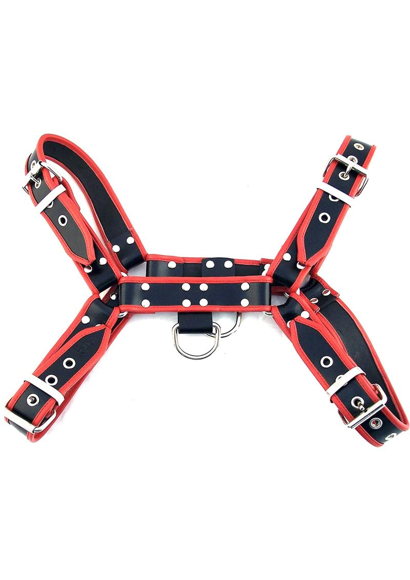 Rouge Ot Front Leather Harness Black And Red XL