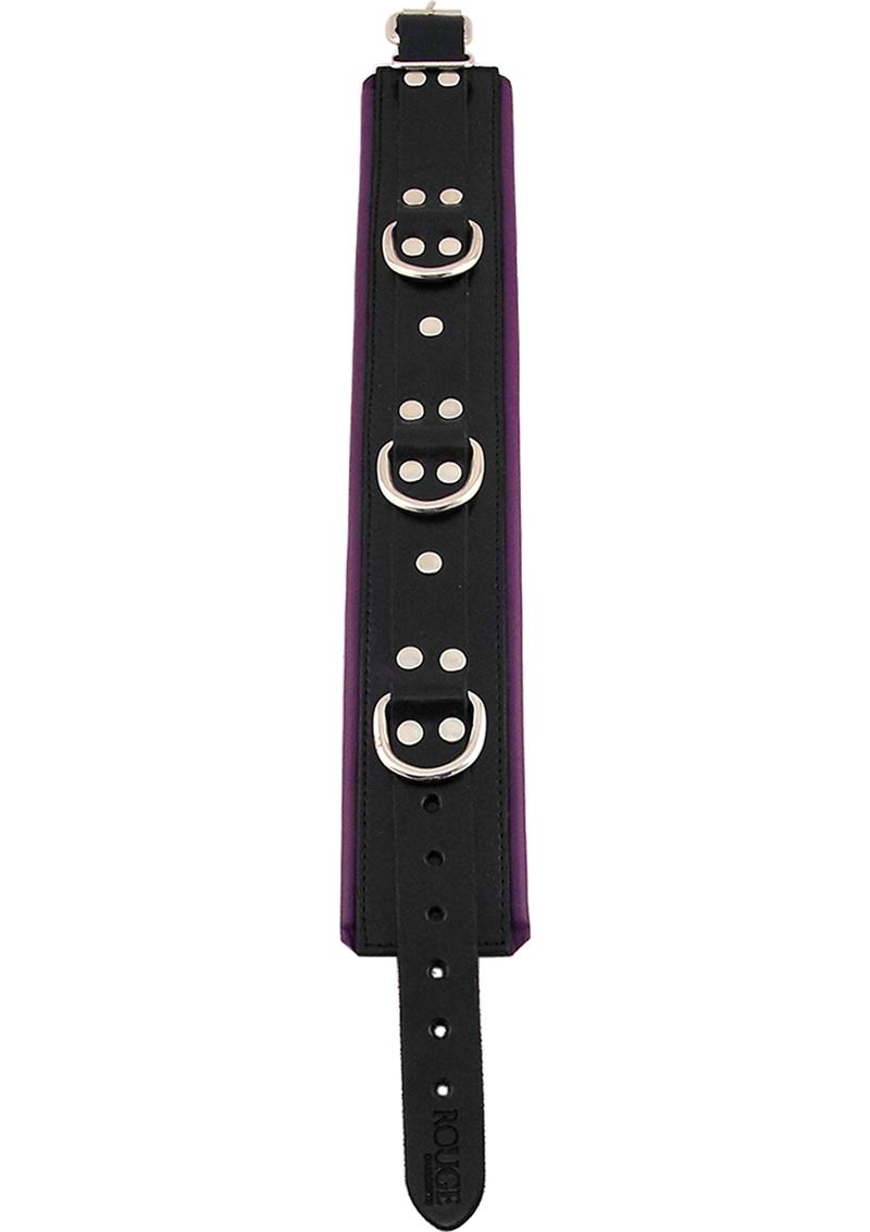 Rouge 3 Ring Padded Leather Adjustable Collar Black And Purple
