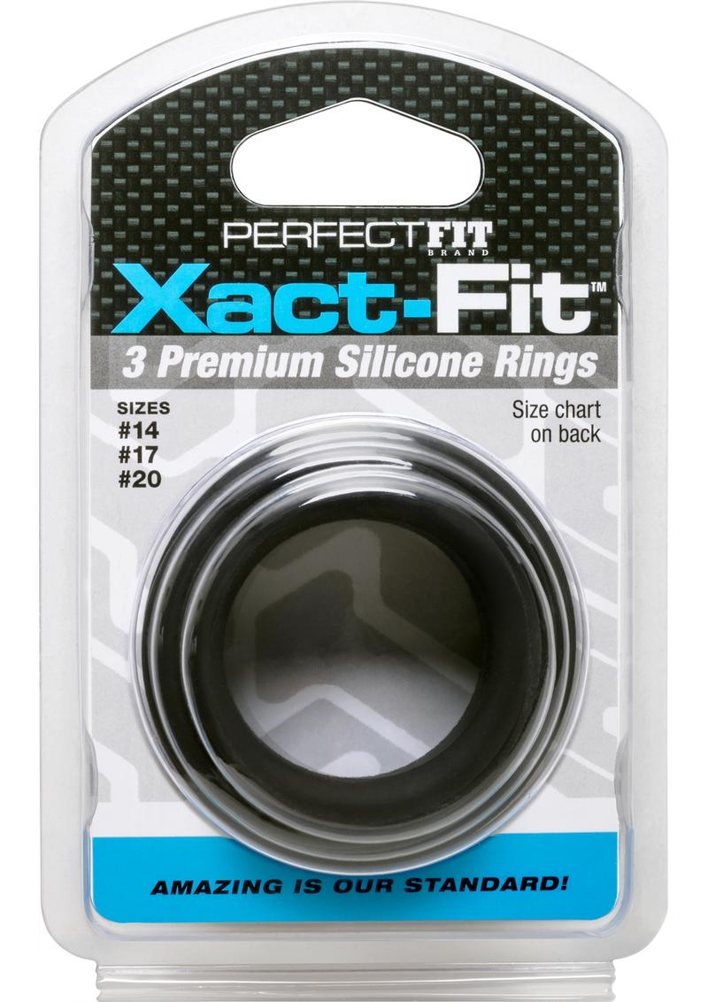 Perfect Fit Xact-Fit Silicone Ring Kit Assorted Sizes 3 Pack - Black