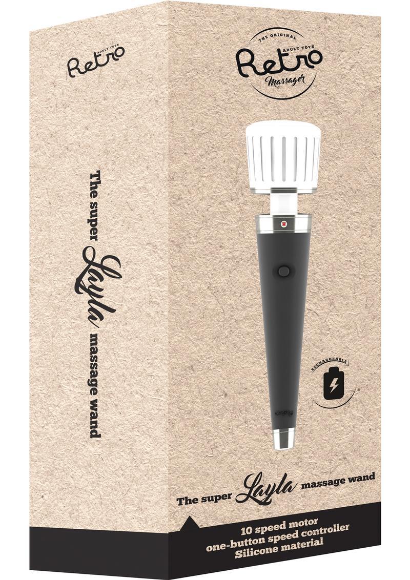 Retro Layla Silicone Massage USB Rechargeable Massage Wand Waterproof Black
