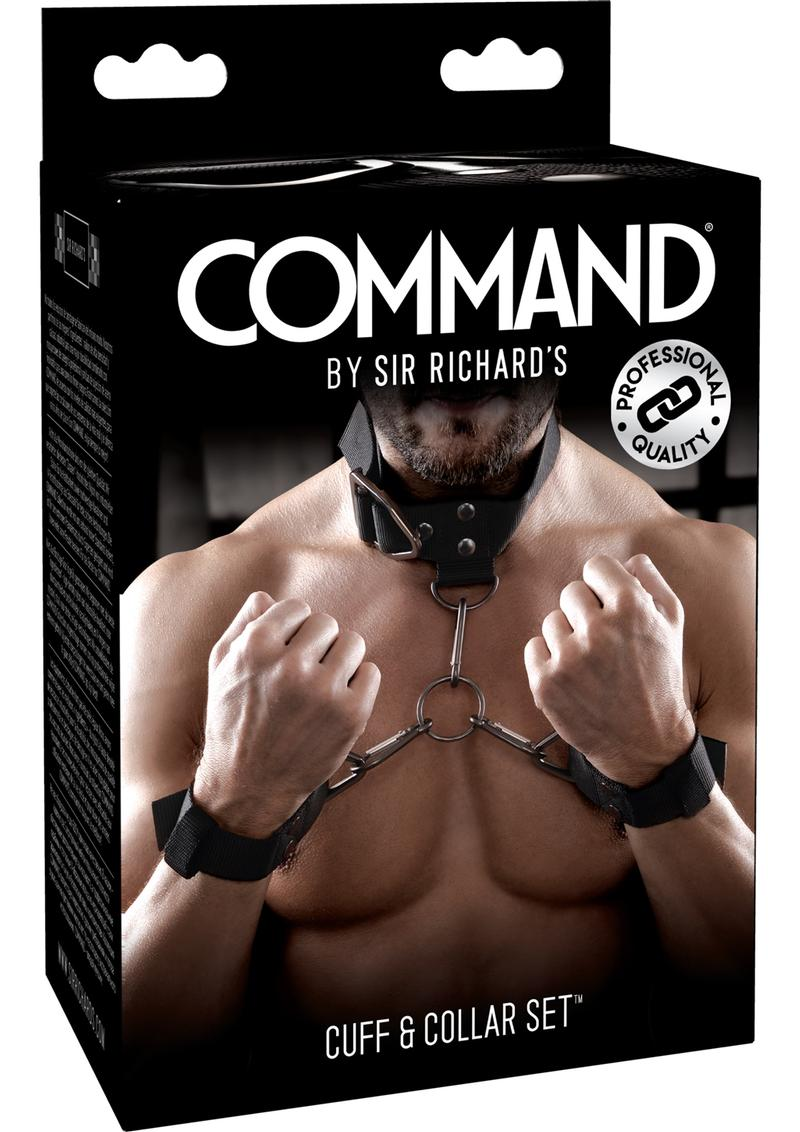 Sir Richard`s Command Cuff and Collar Set Black Stainless Steel