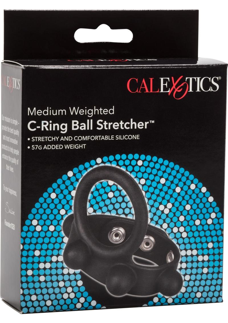 Medium Weighted C-Ring Ball Stretcher Silicone Cockring Black