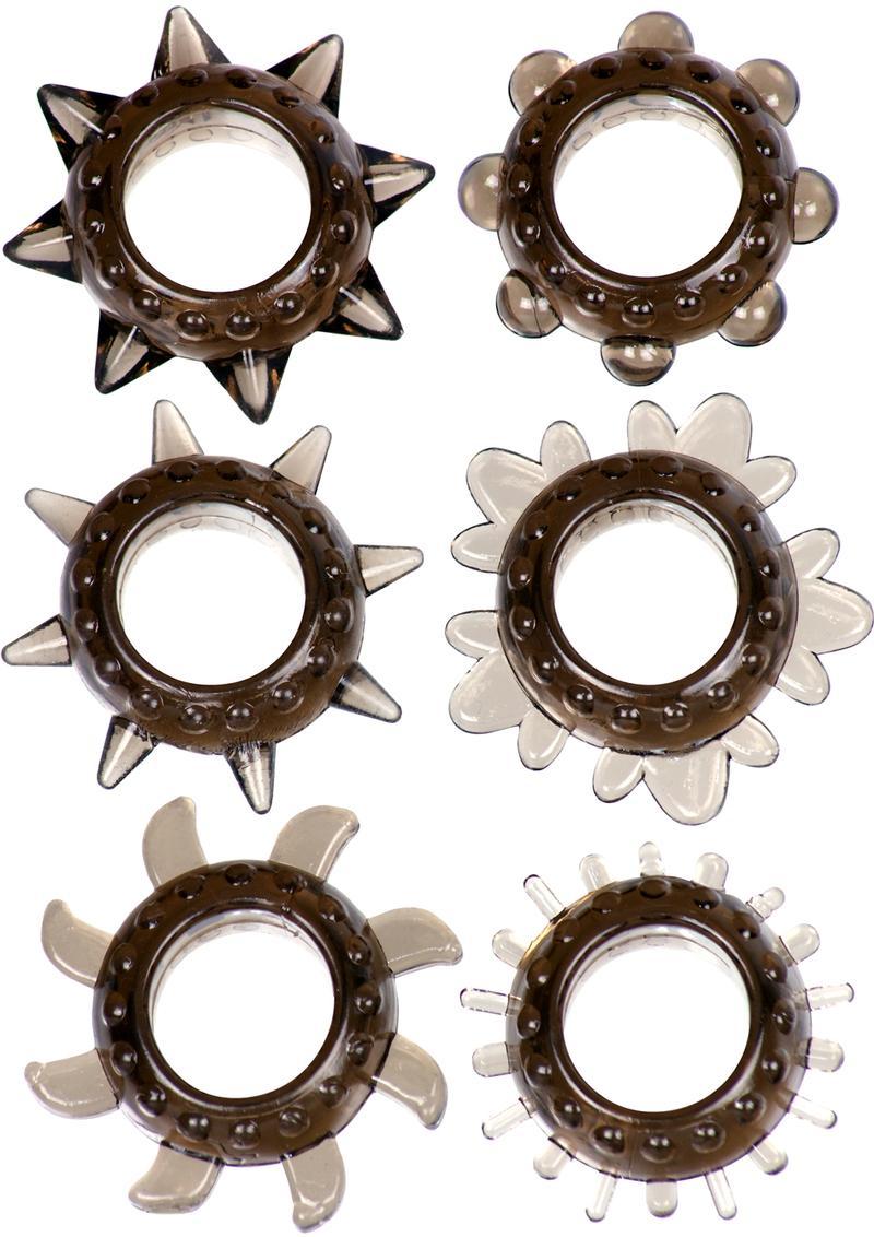 Link Tickler Ring Set Assorted Textured Cockrings Waterproof Smoke 6 Each Per Pack
