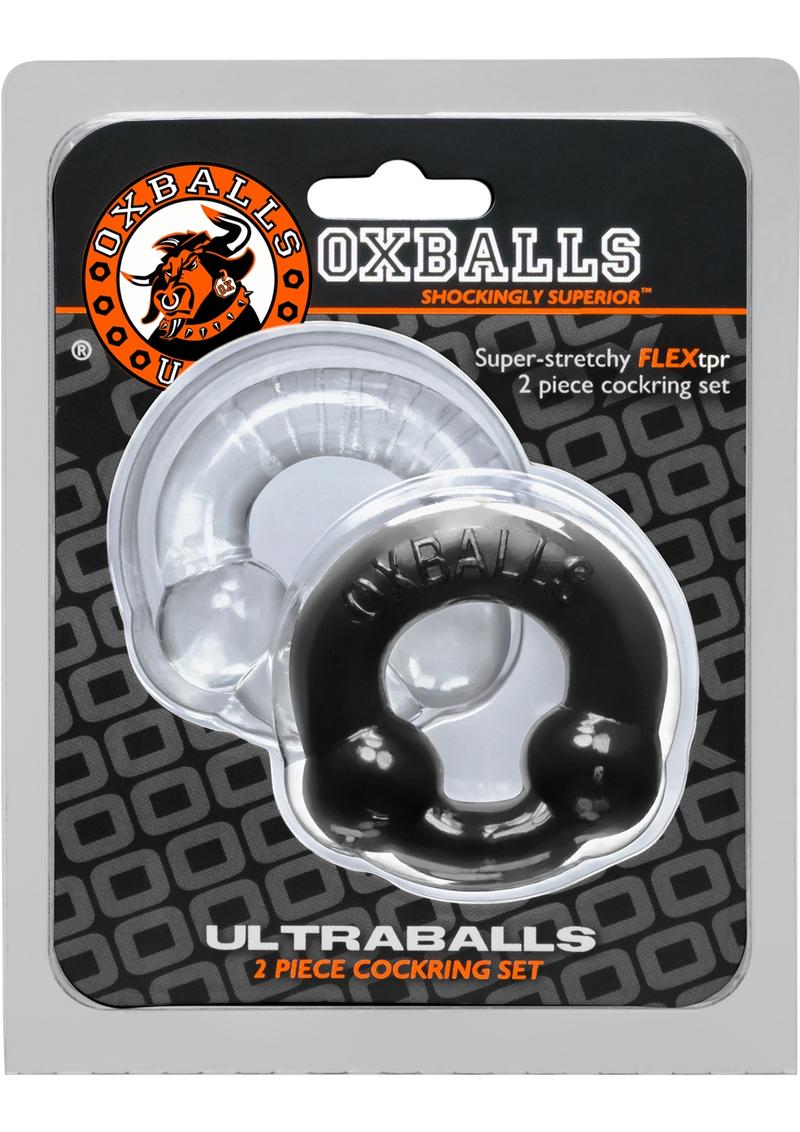 Oxballs Ultraballs Cockring Set 2 Each Per Set Black And Clear