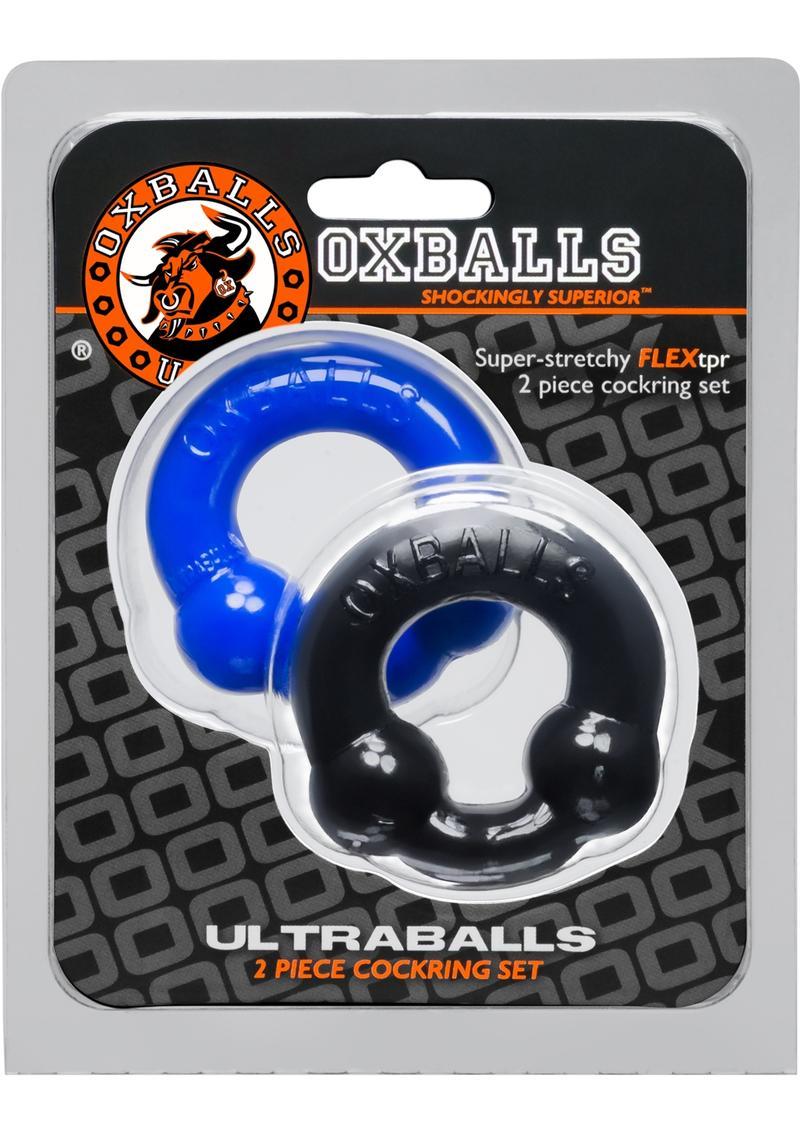 Oxballs Ultraballs Cockring Set 2 Each Per Set Black And Police Blue