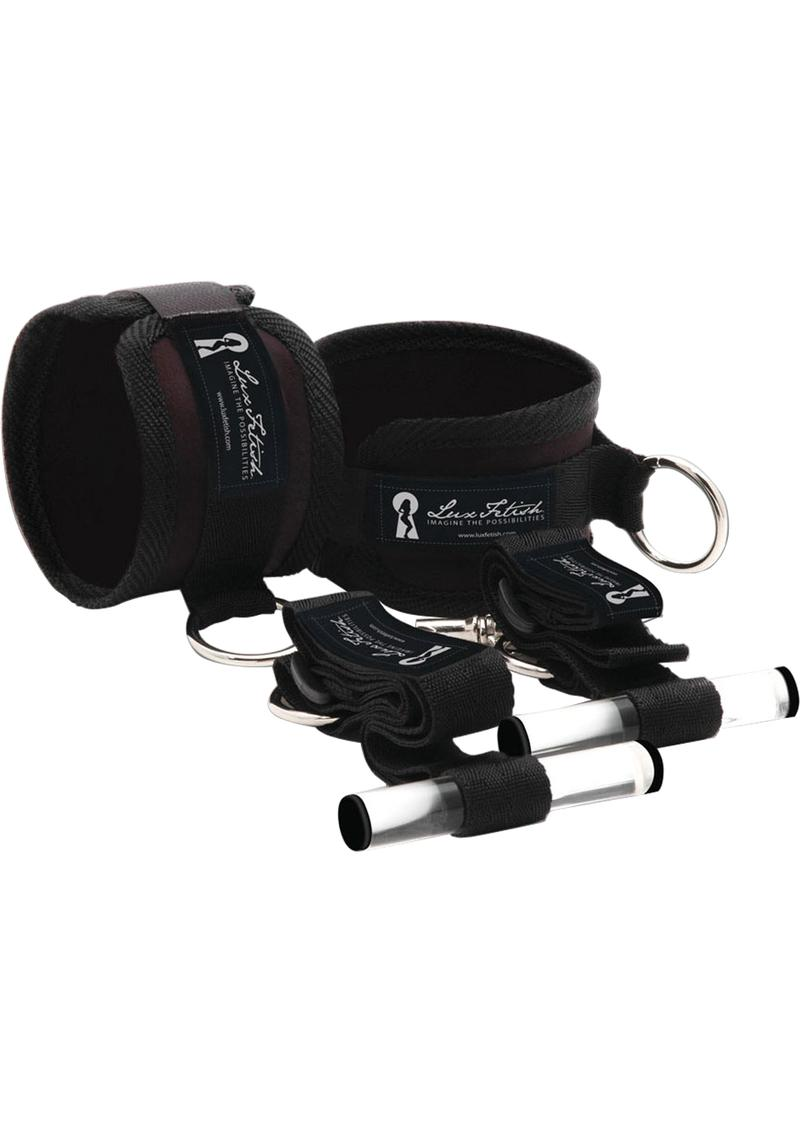 Lux Fetish Closet Cuffs Adjustable Playful Restraint System 4 Piece Set Black