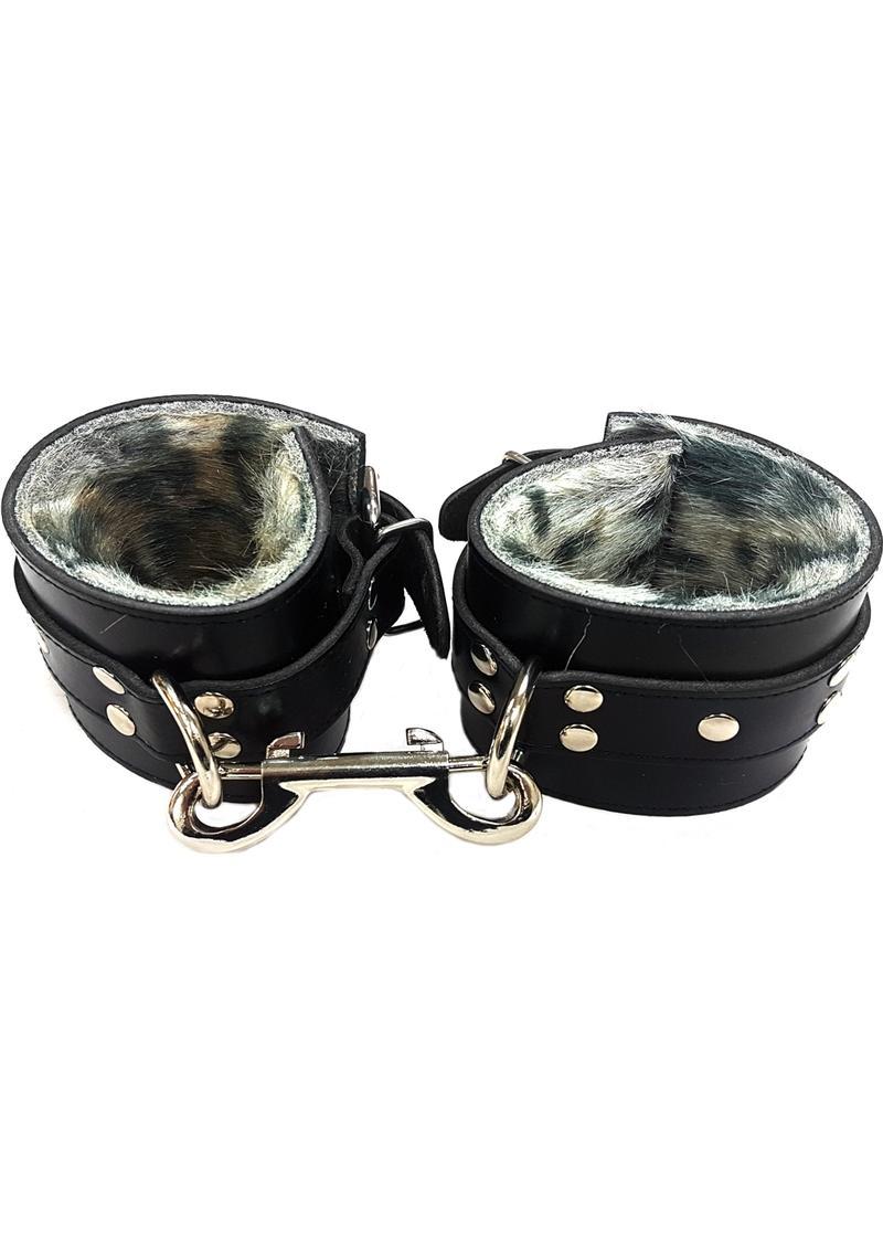 Rouge Fur Wrist Cuffs Leopard Print And Black Leather