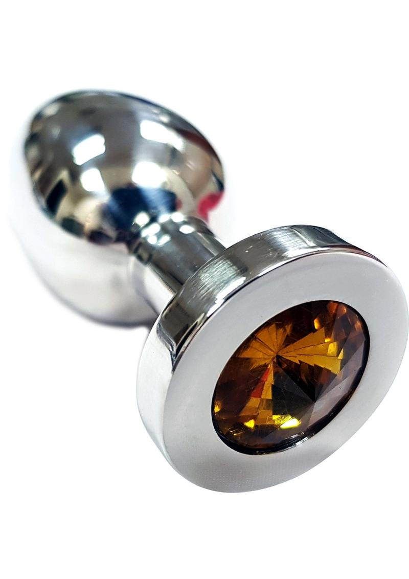 Rouge Jewelled Anal Butt Plug Medium Stainless Steel Yellow Jewel