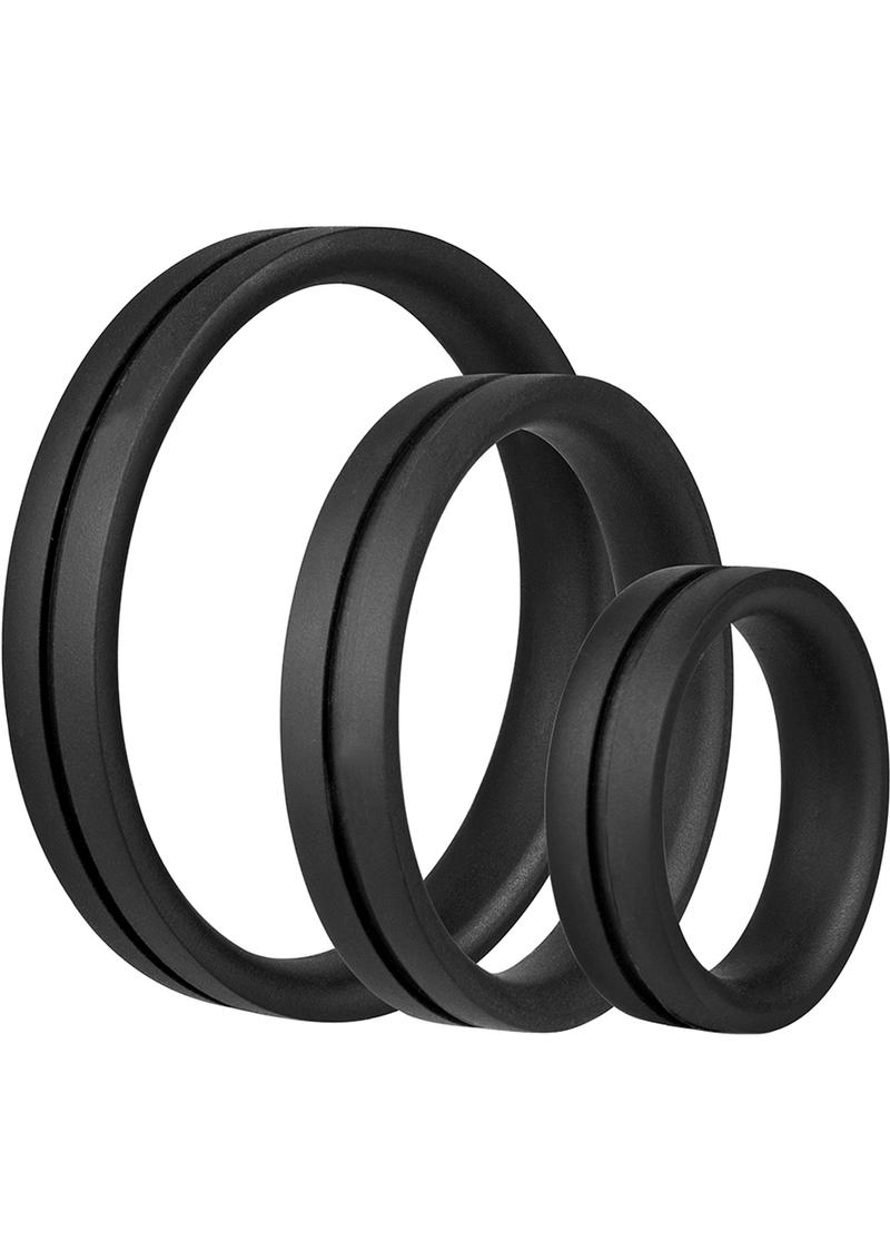 Ringo Pro X3 Silicone Cock Rings Set Waterproof Black 3 Piece Pack
