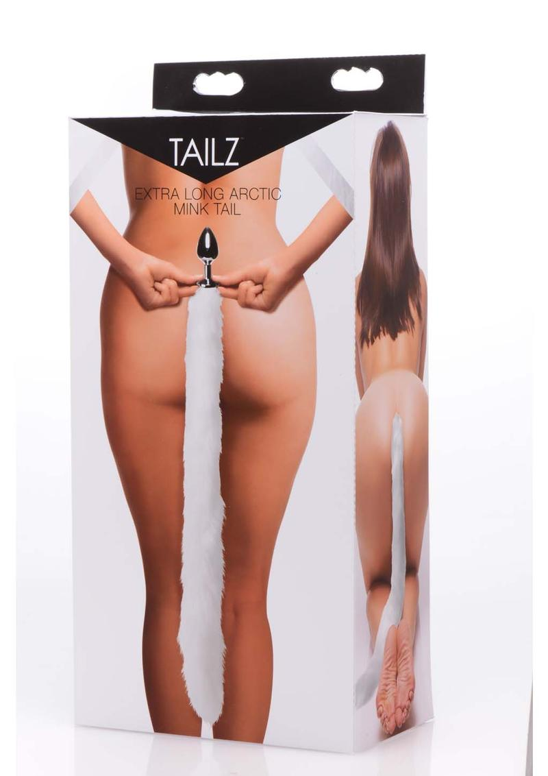 Tailz Mink Tail Butt Plug White 4.5 Inch