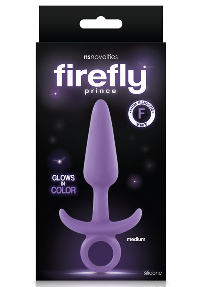 Firefly Prince Medium Anal Plug Silicone Glow In The Dark - Purple