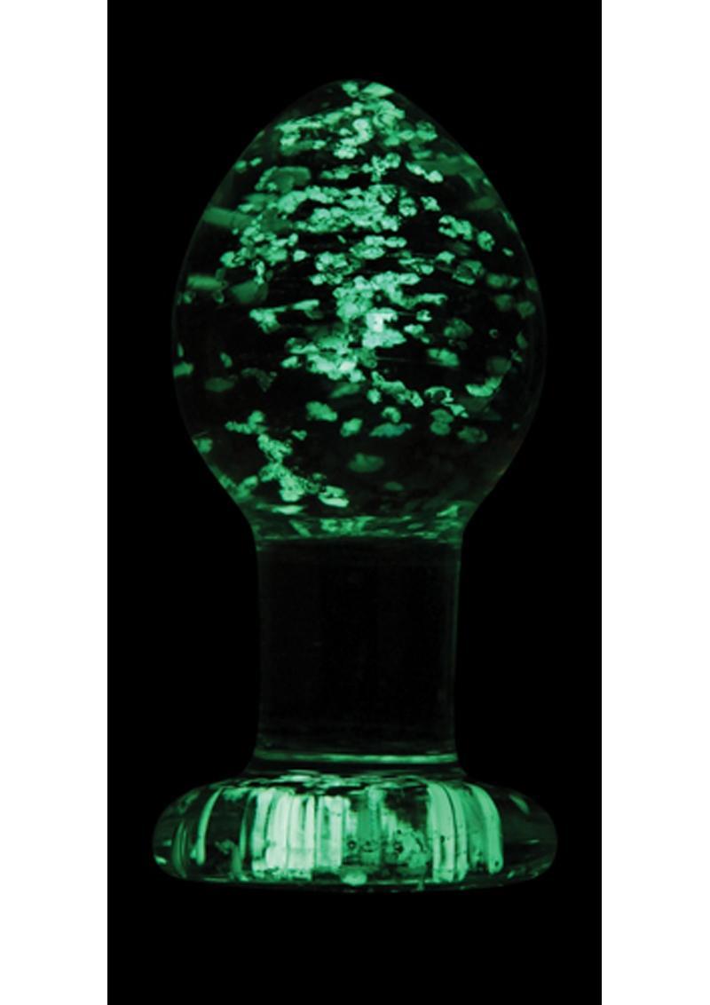 Firefly Glass Plug Glow In The Dark Medium Anal Plug - Clear 3 Inch