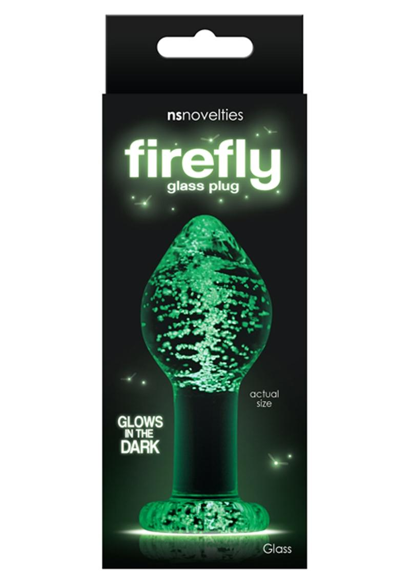 Firefly Glass Plug Glow In The Dark Large Anal Plug - Clear 4 Inch