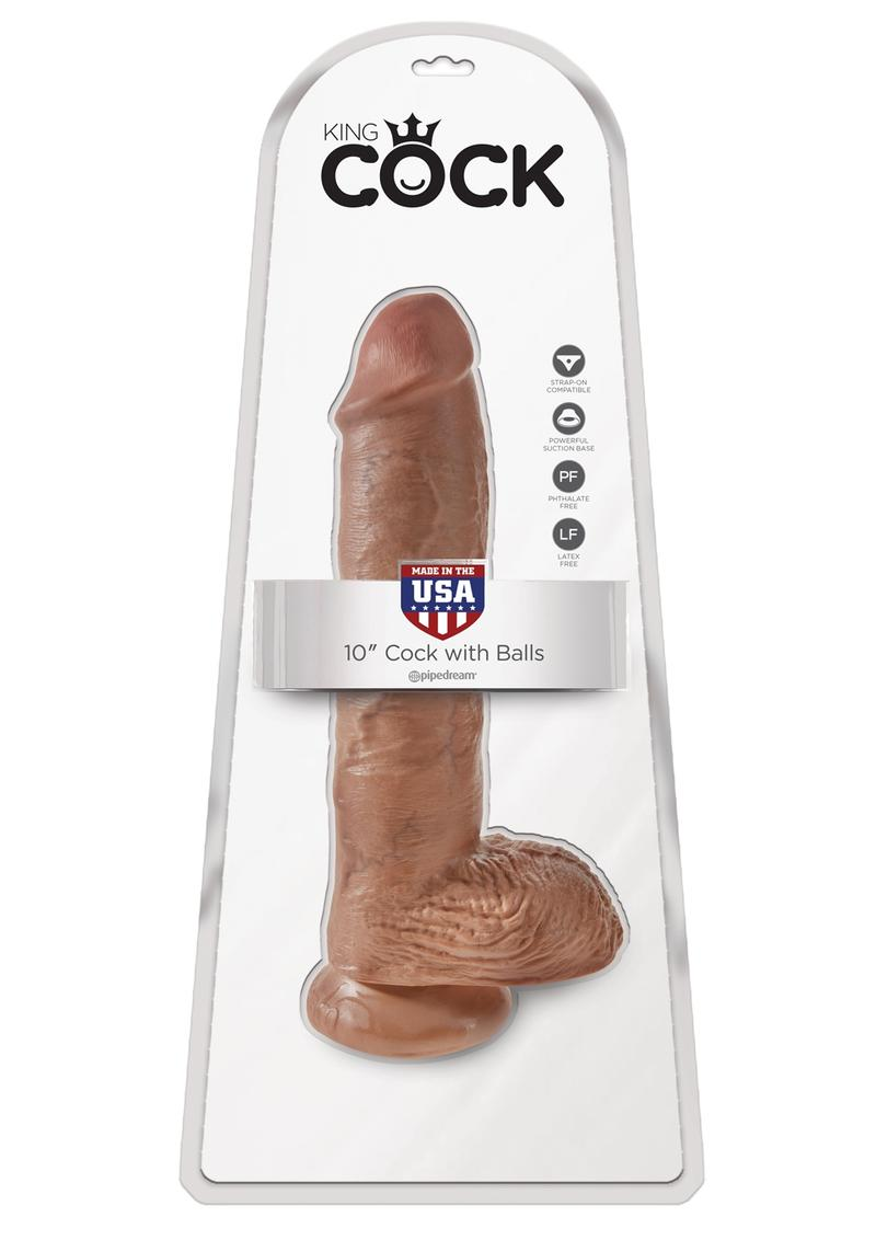King Cock Realistic Dildo With Balls Tan 10 Inch