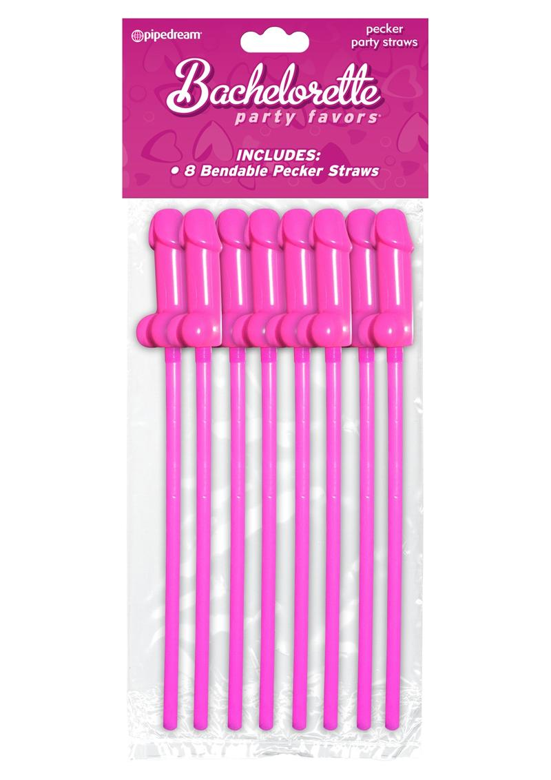 Bachelorette Party Favors Pecker Party Straws Pink 8 Pack