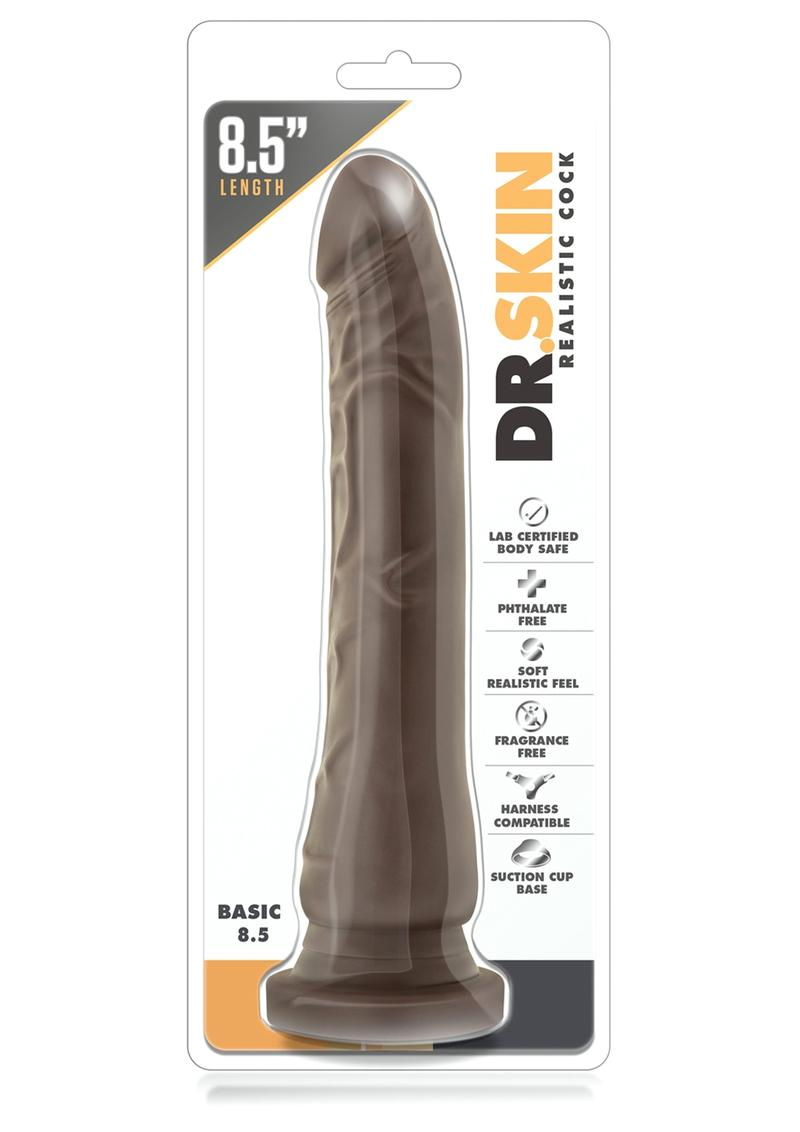 Dr. Skin Basic Non Vibrating Dildo With Suction Cup Chocolate 8.5 Inch