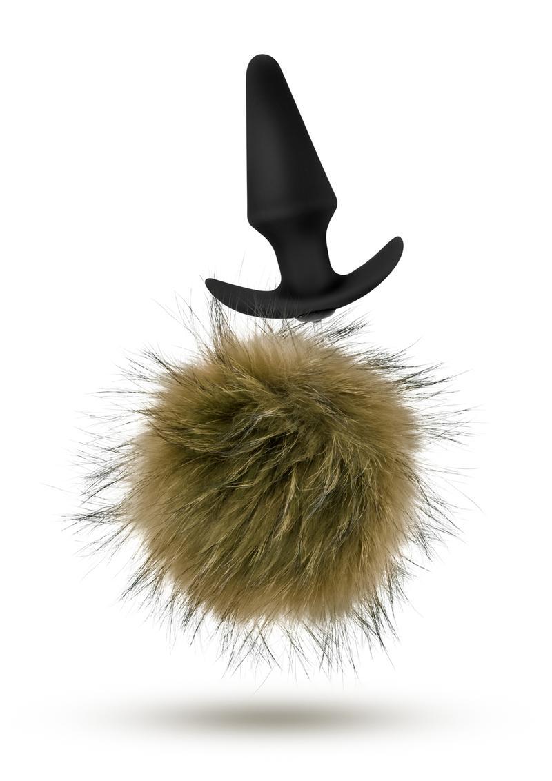 Pom Plugs Fur Pom Pom Silicone Anal Plug Brown 5 Inch