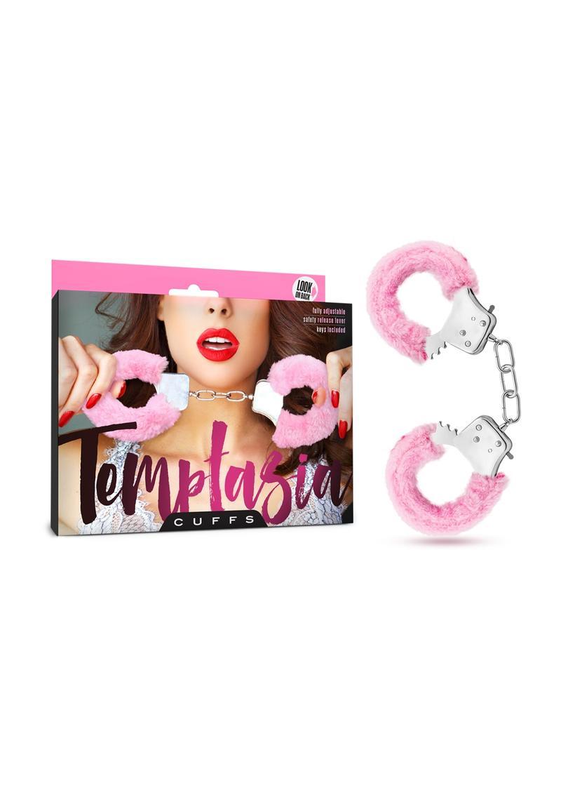 Temptasia Cuffs Adjustable Furry Hand Cuffs With Keys Pink