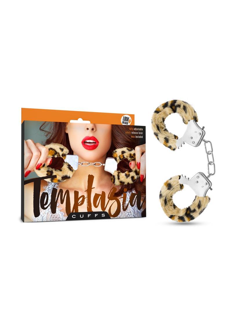 Temptasia Cuffs Adjustable Furry Hand Cuffs With Keys Leopard Print
