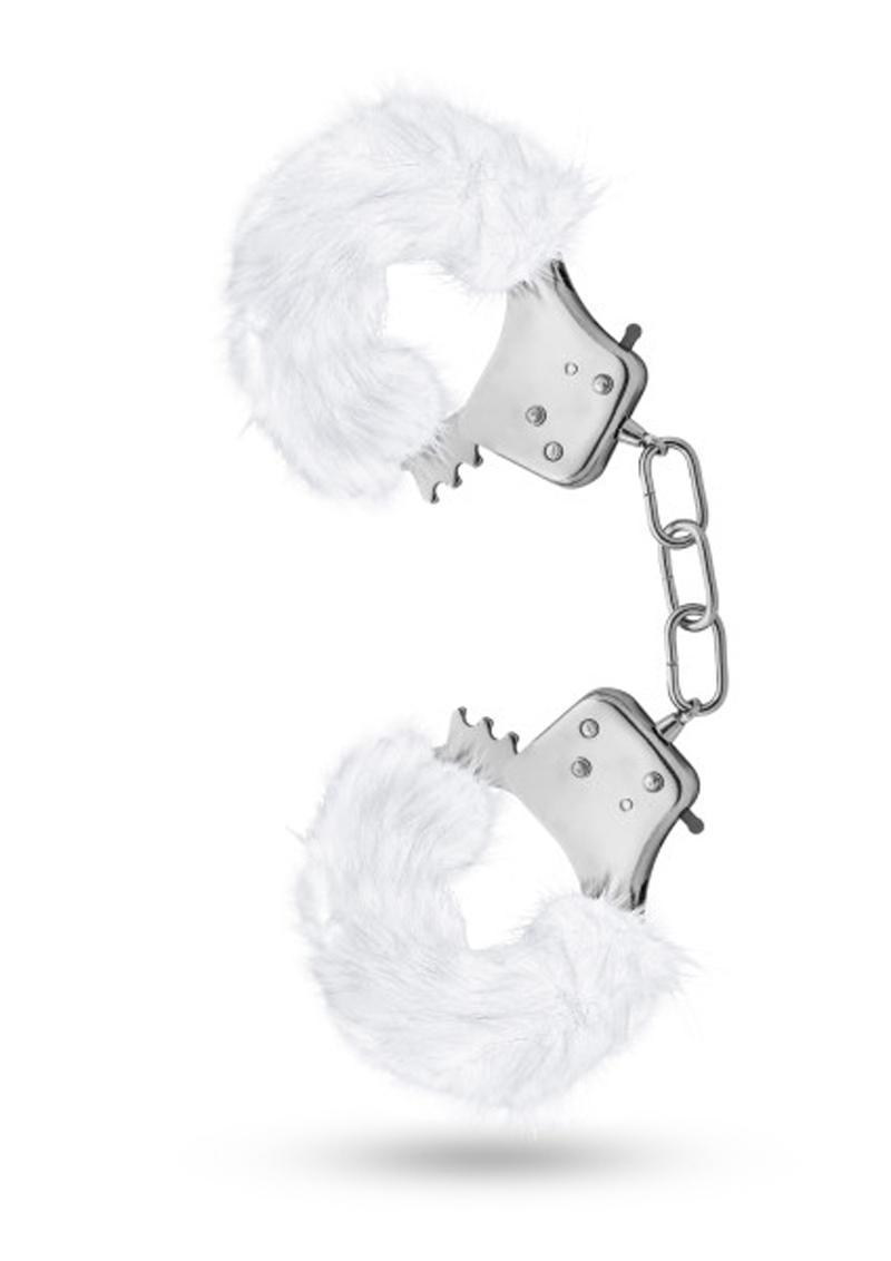 Temptasia Plush Fur Cuffs Adjustable Furry Hand Cuffs Stainless Steel With Keys White