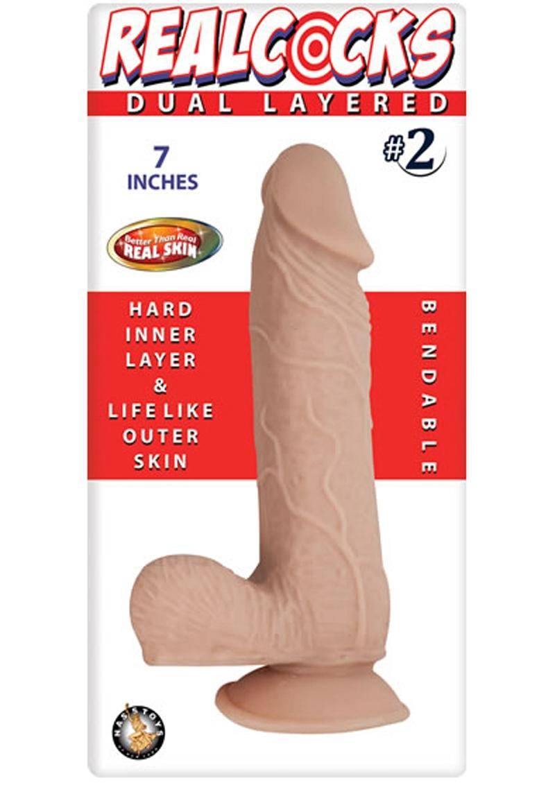Realcocks Dual Layered 02 Bendable Dildo Waterproof Flesh 7 Inch