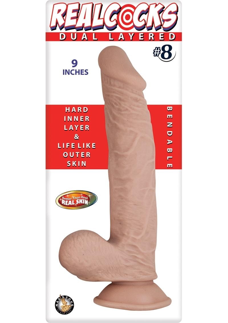 Realcocks Dual Layered 08 Bendable Dildo Waterproof Flesh 9 Inch