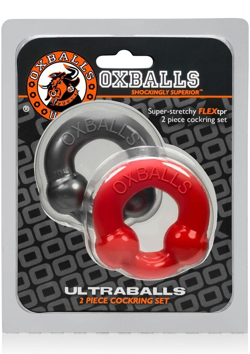 Oxballs Ultraballs Cockring Red And Steel 2 Each Per Pack