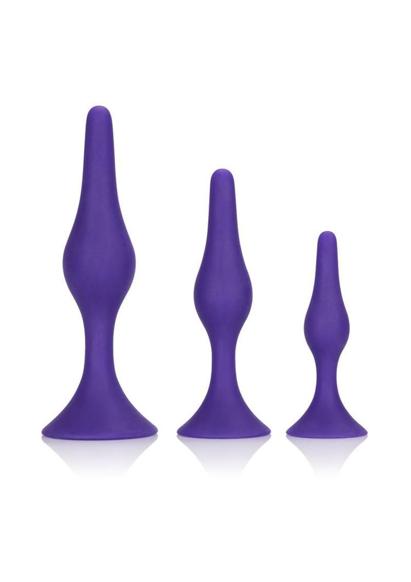 Booty Call Booty Trainer Kit Silicone Anal Plugs Purple 3 Assorted Sizes