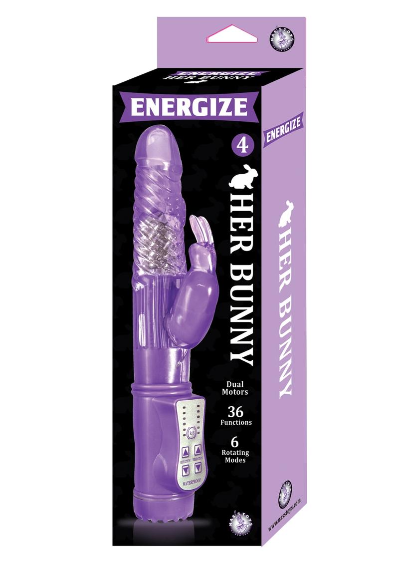 Energize Her Bunny 04 Dual Motor Rotating Rabbit Vibe Waterproof Purple 9 inch