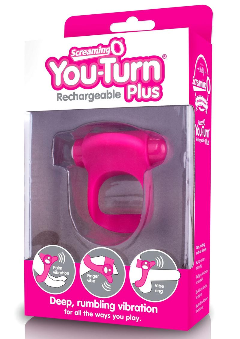 You-Turn Rechargeable Plus Silicone Ring Waterproof Strawberry