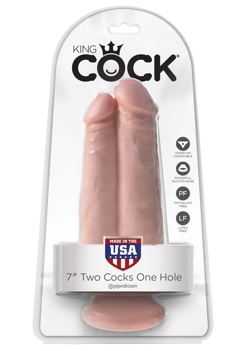 King Cock Two Cocks One Hole Realistic Dildo Flesh 7 Inch