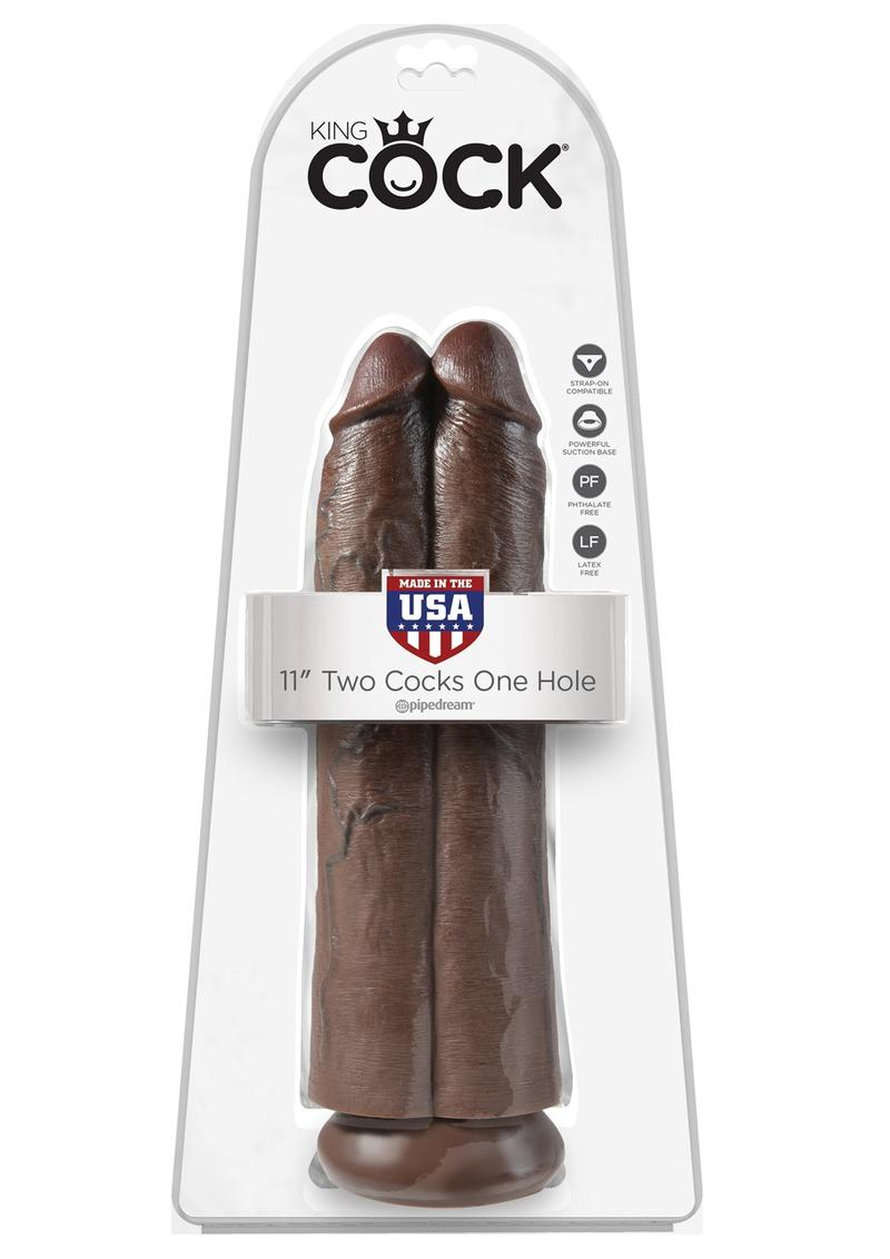 King Cock Two Cocks One Hole Realistic Dildo Brown 11 Inch