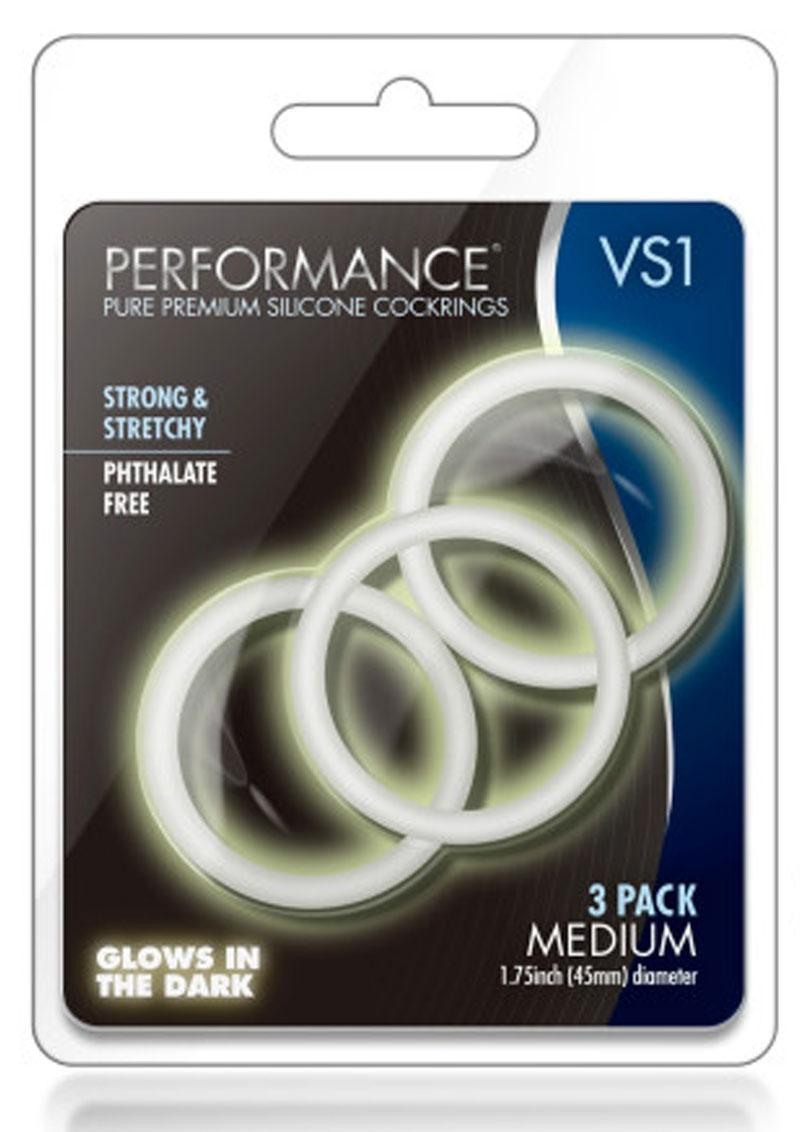 Performance VS1 Silicone Cock Ring Clear Medium 3 Pack