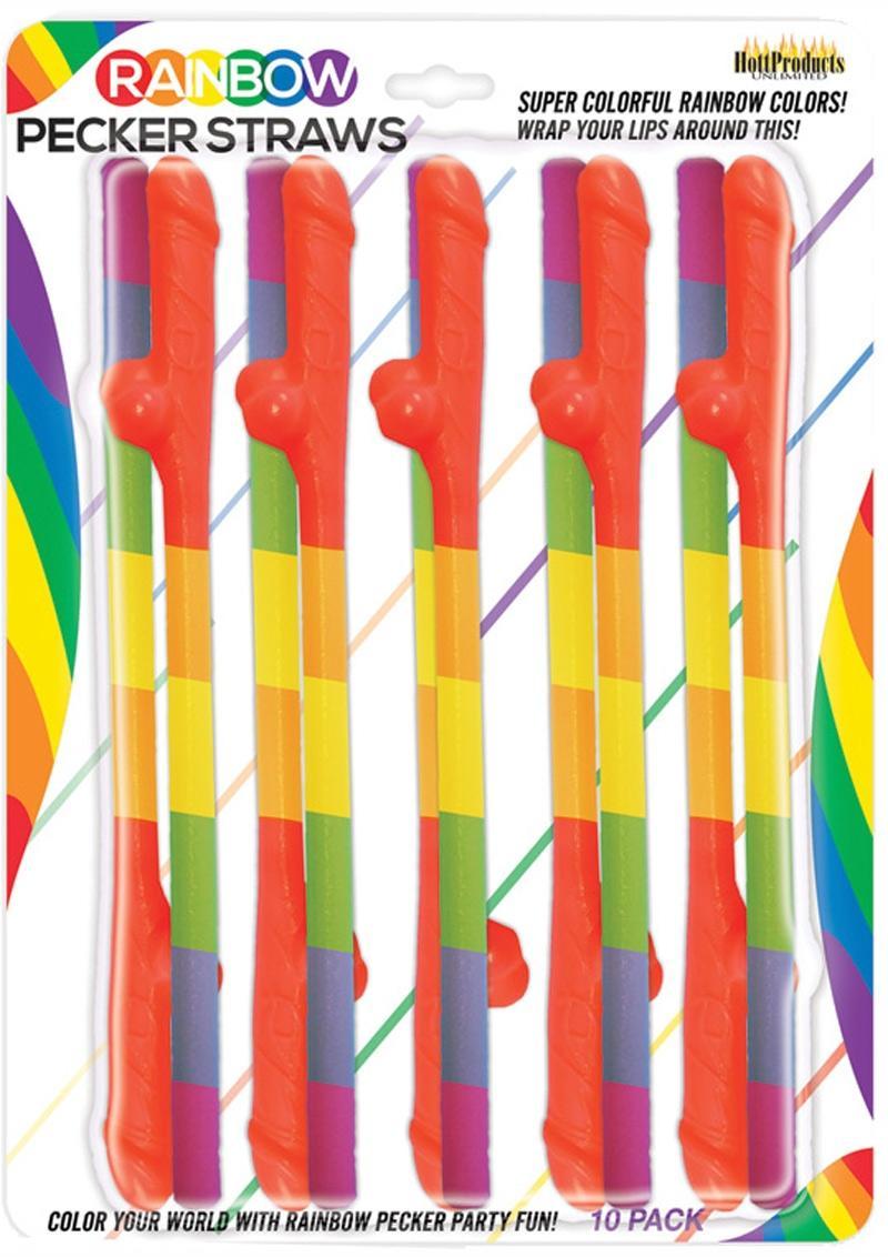 Rainbow Pecker Straws 10 Each Per Pack