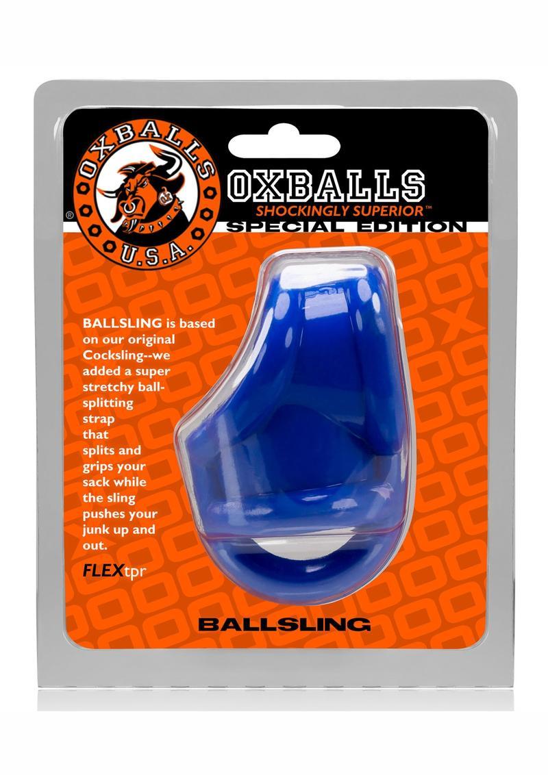 Ballsling With Ballsplitter Cockring Police Blue