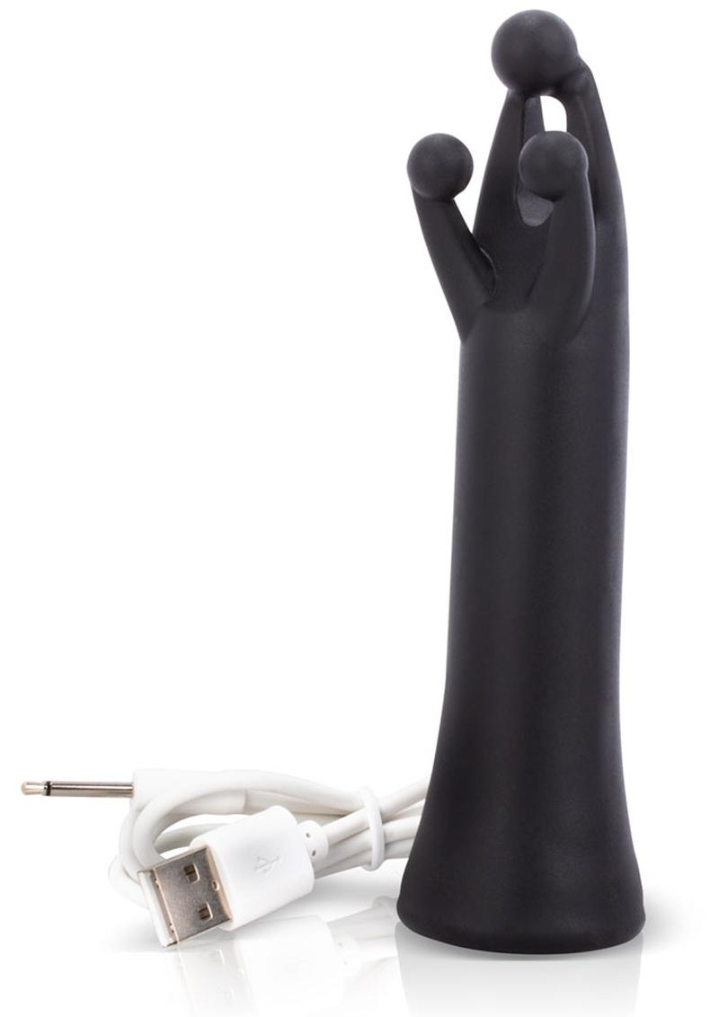 Tri It Silicone USB Rechargeable Clitoral Stimulation Vibrator Waterproof Black