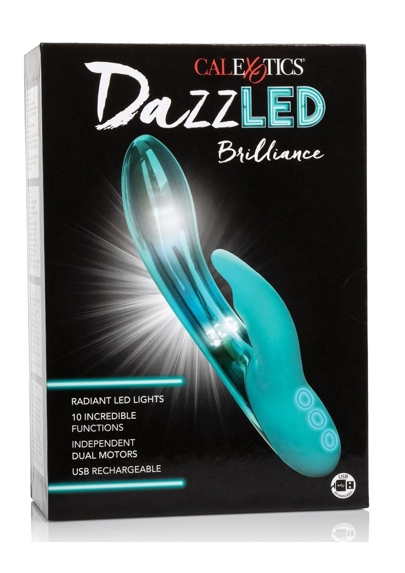 Dazzled Brilliance LED Lights USB Rechargeable Dual Vibrator Waterproof Metallic Teal 5 Inch