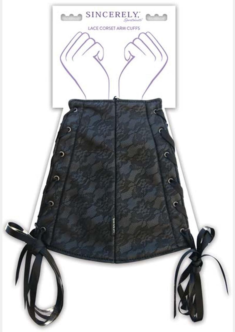 Sincerely Sportsheets Lace Corset Arm Cuffs Black