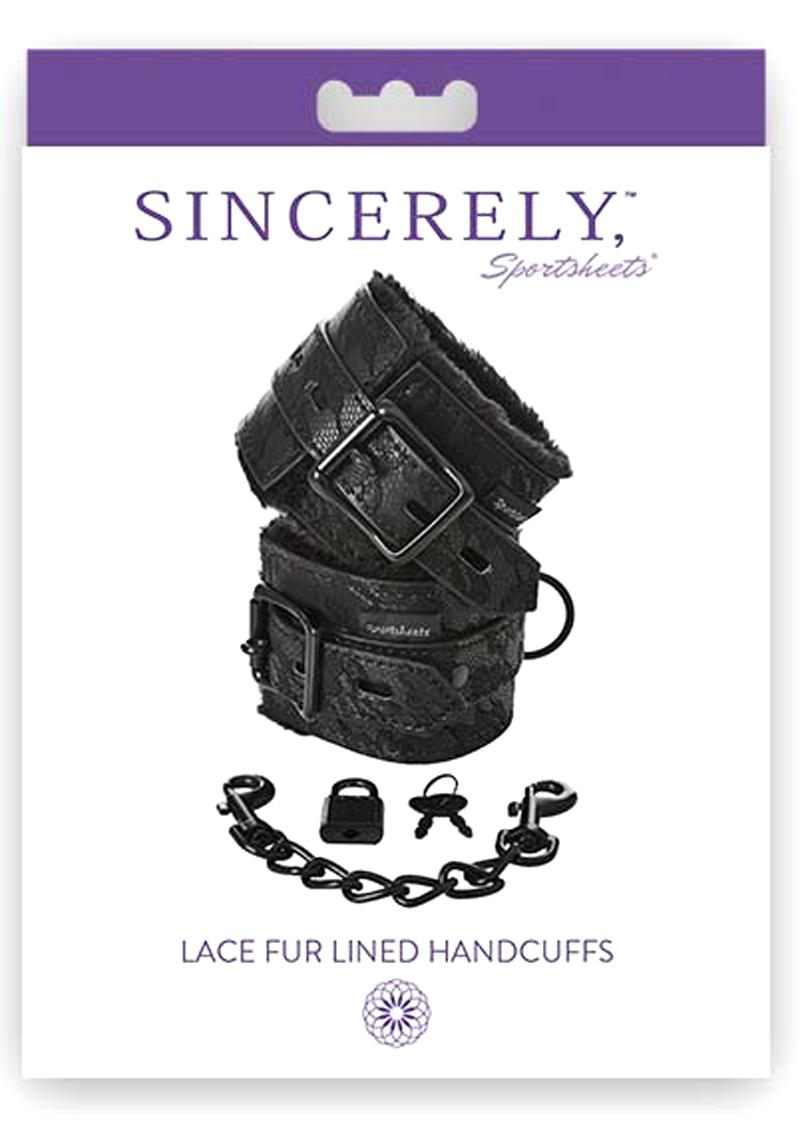 Sincerely Sportsheets Lace Fur Lined Handcuffs Black