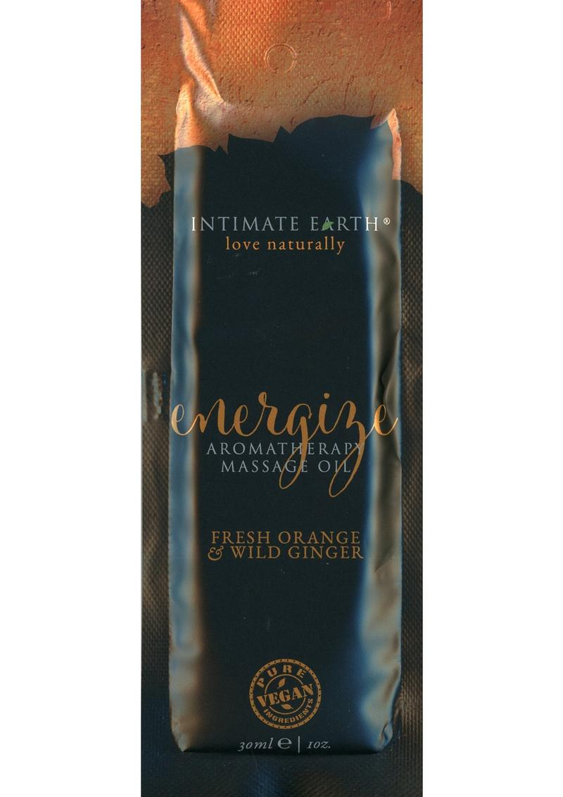 Intimate Earth Energize Aromatherapy Massage Oil Fresh Orange and Wild Ginger 1oz
