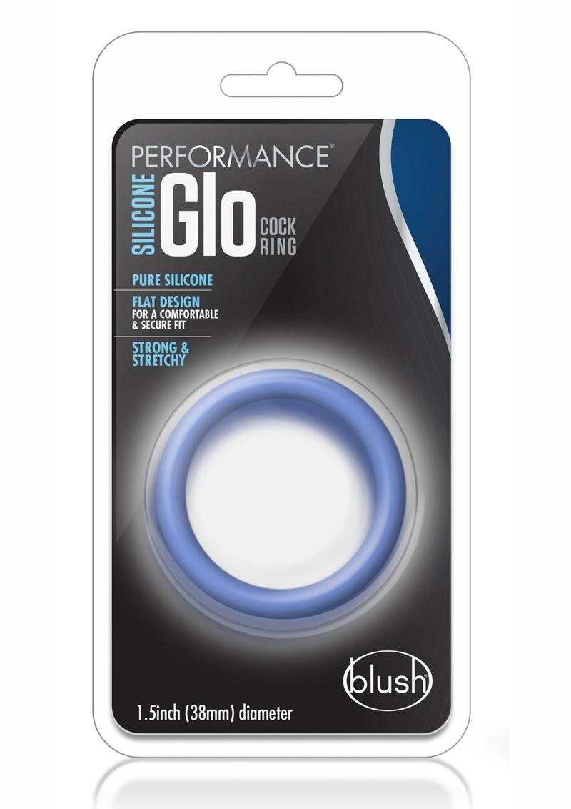 Performance Silicone Glo Cock Ring Glow In the Dark Blue 1.5 Inch Diameter