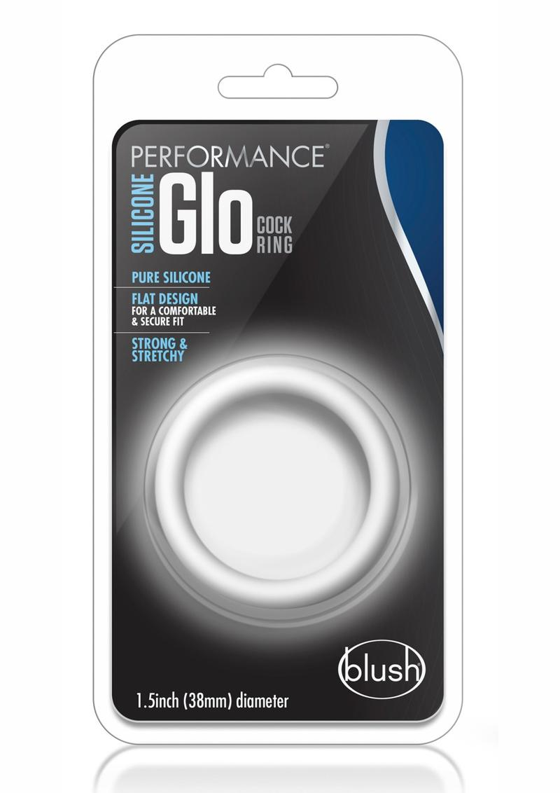 Performance Silicone Glo Cock Ring Glow In the Dark White 1.5 Inch Diameter