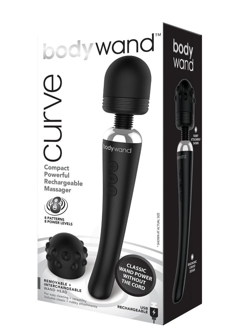 Bodywand Curve Silicone Massager Black 9 Inch