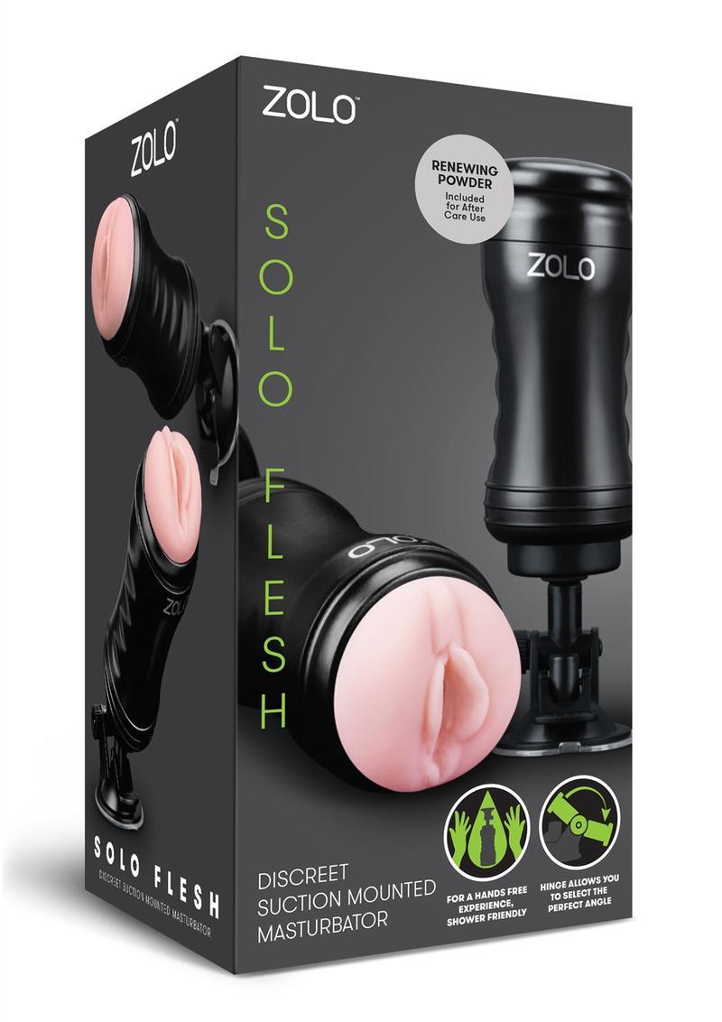 Zolo Solo Flesh Discreet Suction Mounted Textured Pussy Masturbator Flesh