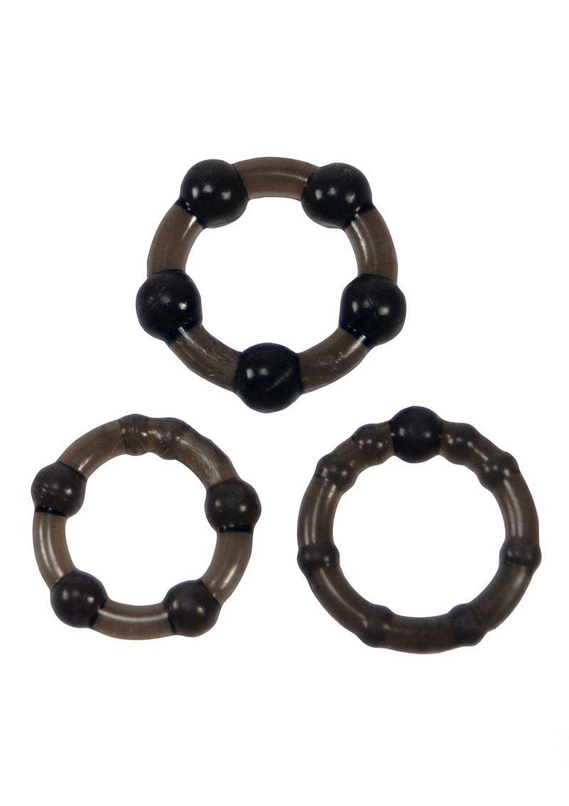 Linx Easy Squeeze Cock Ring Set Waterproof Black 3 Per Pack