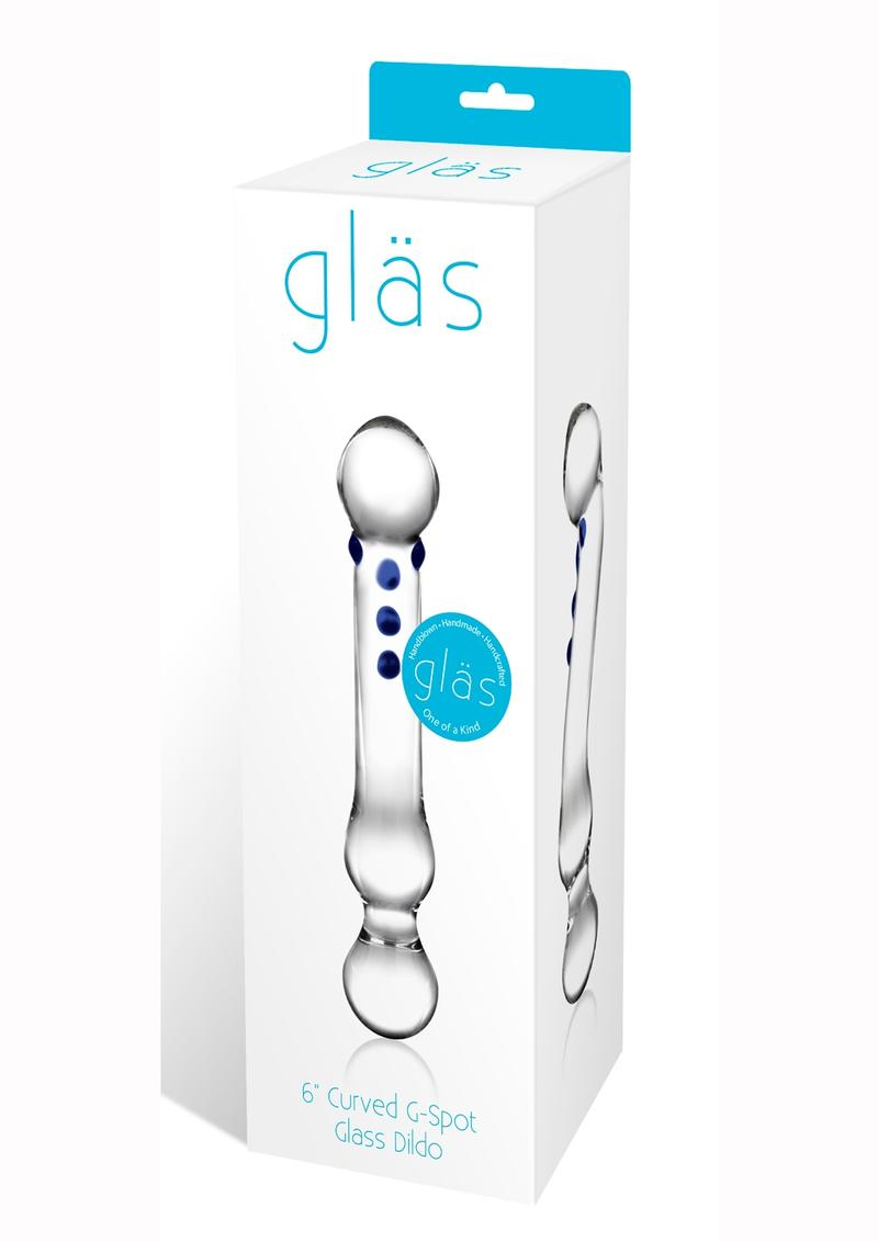 Glass Curved G-spot Glass Dildo Clear 6 Inches
