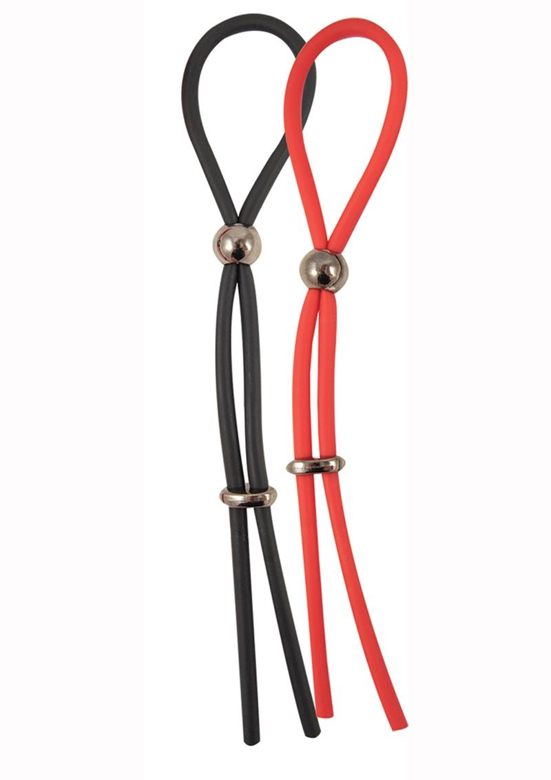 My Cockring Rubber Adjustable Extreme Cocktie Waterproof Black And Red 2 Per Pack