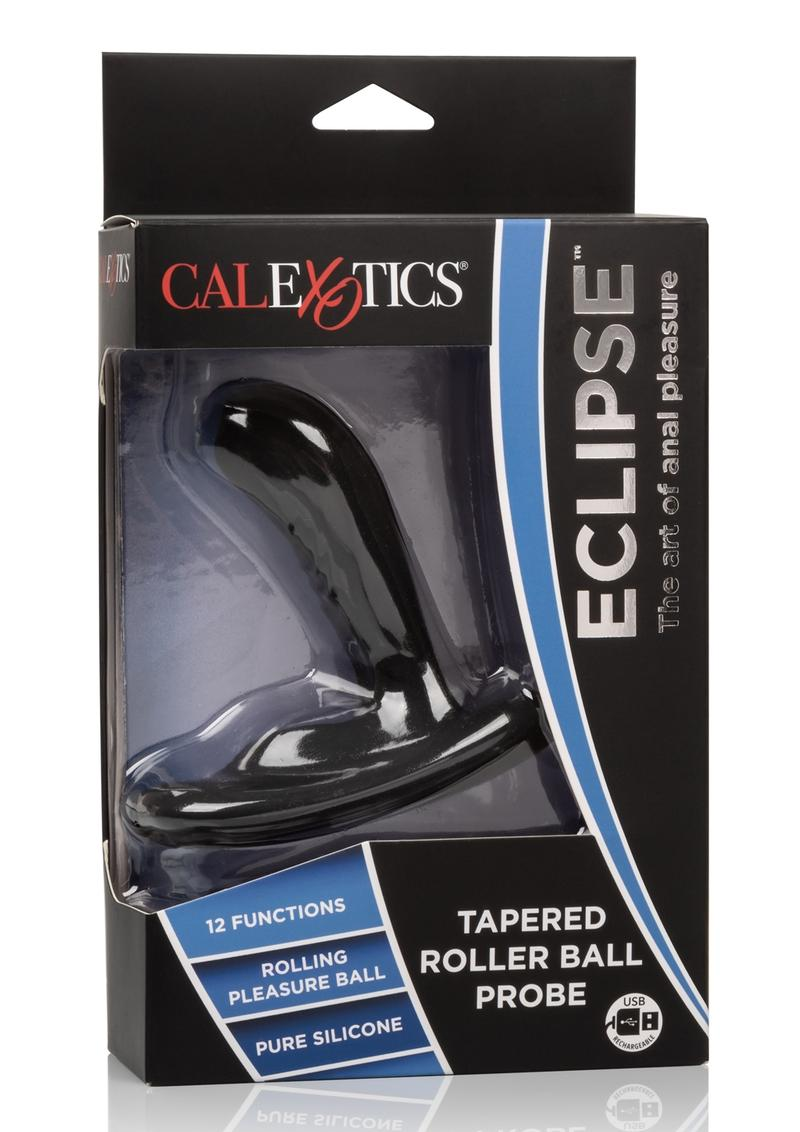 Eclipse Tapered Roller Ball Probe Silicone USB Rechargeable Anal Plug Waterproof Black 4 Inch